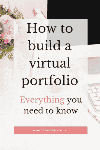 How to build a virtual portfolio. Everything you need to know. Title overlaying a computer.