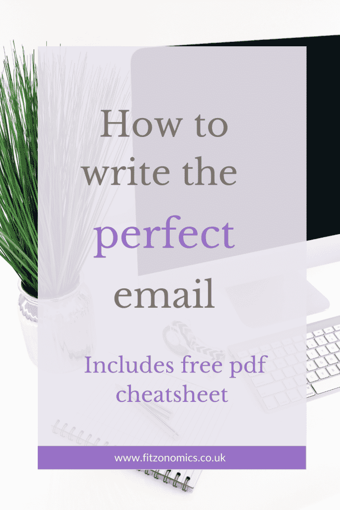 How to write the perfect email. Picture of computer and green plant in copper vase.
